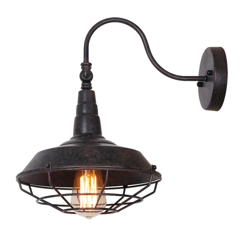 Industrial Bedroom Rustic Wall Sconce Light with Cage Cover, Black Finish Vintage Edison Wall Lamp Bathroom 1 Light, W0013