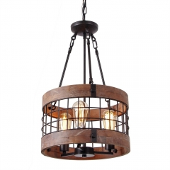 Round Wooden Chandelier Metal Pendant Three Lights Decorative Lighting Fixture Retro Rustic Antique Ceiling Lamp (Three Lights)
