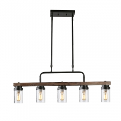 Anmytek Kitchen Island Pendant Lighting with Bubble Glass Shade Industrial Rustic Chandelier Retro Ceiling Light or Edison Vintage Hanging Light