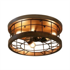 Anmytek Ceiling Light Fixture Rustic Chandelier Excellent Metal Wood Frame Cage Industrial Pendant Lighting Brown Finishing Lamp 3 Lights