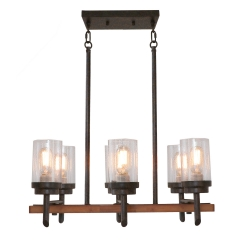 Wood Farmhouse Dinning Table Rustic Chandelier Light with Shades, Industrial Vintage Edison Pendant Lamp Kitchen Island Hanging 6 Lights, 17802
