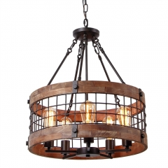 Anmytek C0019 Round Wooden Chandelier Metal Pendant Five Decorative Lighting Fixture Antique Ceiling Lamp