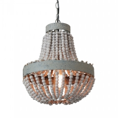 Anmytek Wood Beaded Chandelier Pendant Light Gray White Finishing Kitchen Island Lighting Retro Vintage Rustic Beads Ceiling Lamp Light Fixtures