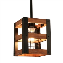 Farmhouse Wood Pendant Light with Cage, Kitchen Island Rustic Industrial Edison Hanging Light, P0015