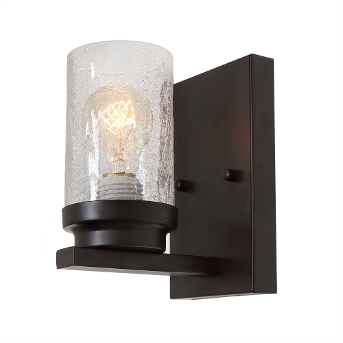 Farm Style Bathroom Light Wood Wall Sconce with Crack Finish Glass, Industrial Vanity Light Edison Sconce Light Fixture, 17701