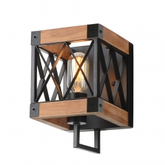 Bedroom Wood Wall Lamp with Mesh Cage, Industrial Bathroom Wall Sconce Vintage Edison Sconce Light Fixture, W0057