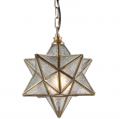 "12"" Moravian Star Kitchen Island Pendant Light with Glass Cover, Modern Brass Frame Industrial Edison Hanging Light Fixture, P0024"
