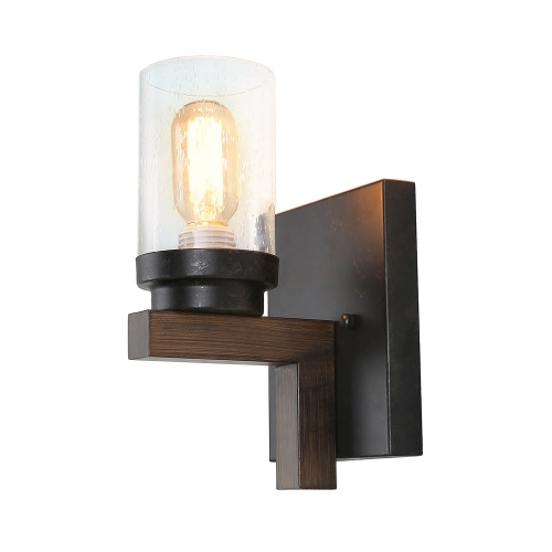 Rustic Style Bathroom Light Metal Wall Sconce with Seeded Glass Shade, Industrial Vanity Light Edison Sconce Light Fixture, W0061